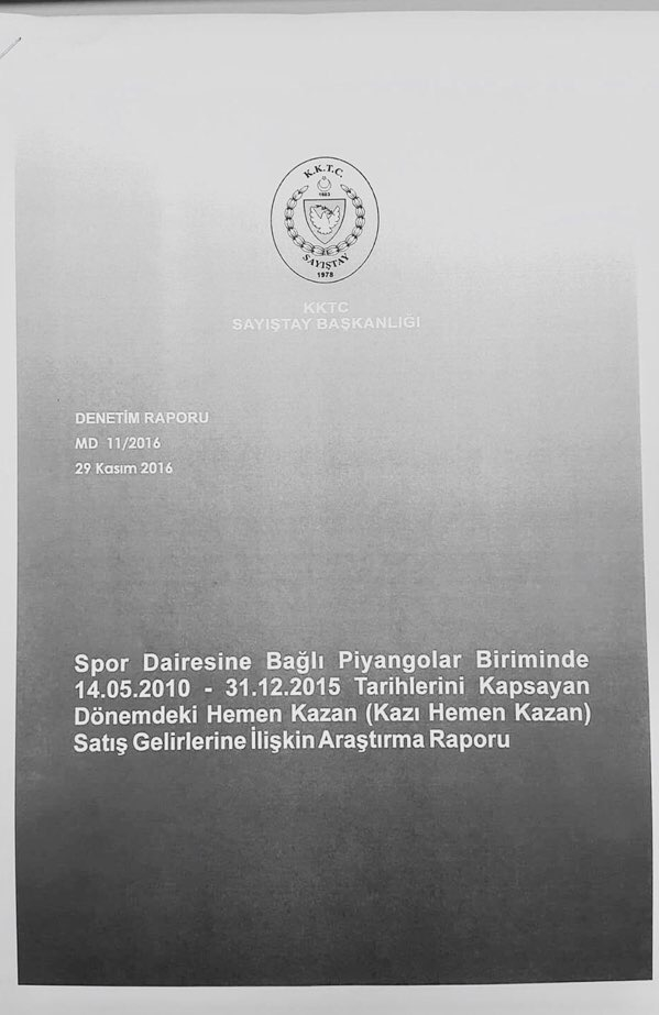 Devlet Piyangosu Sayıştay Raporu 1