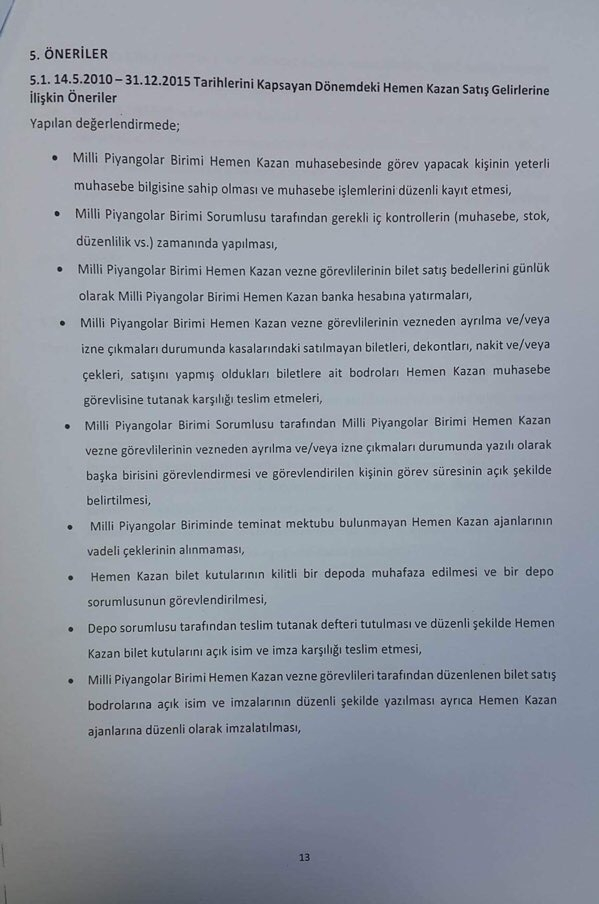Devlet Piyangosu Sayıştay Raporu 16
