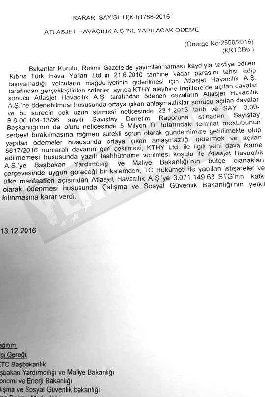 GİZLİ KARARLA 3 MİLYON STERLİN... İŞTE BELGELER 2