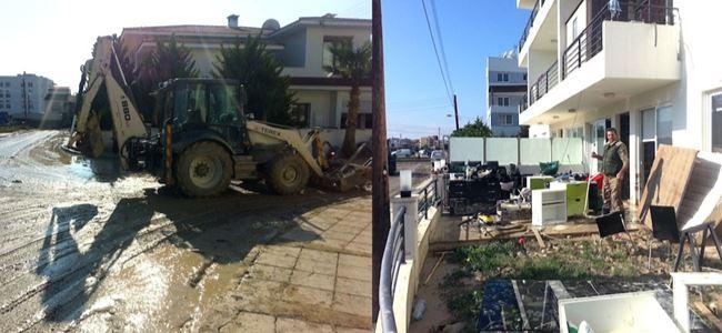 Larnaka ile Aradip su ve çamurla doldu