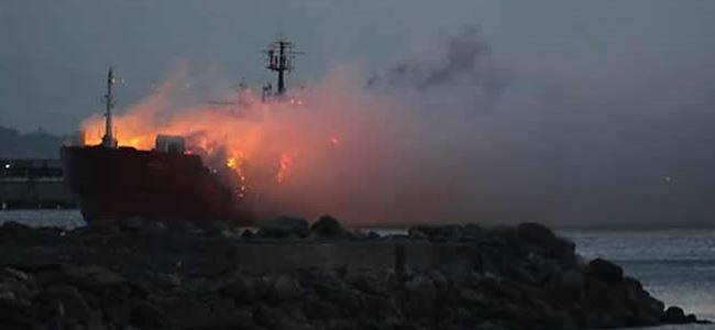 Kıbrısa gelecek gemide yangın çıktı!