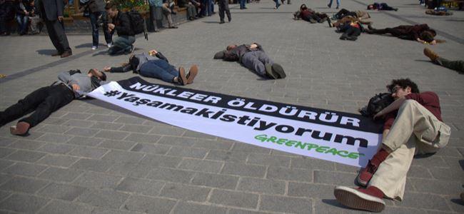 Akkuyu temel atma törenine eş zamanlı protesto