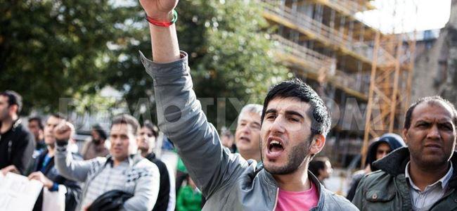 Sığınmacılar gösteri düzenledi