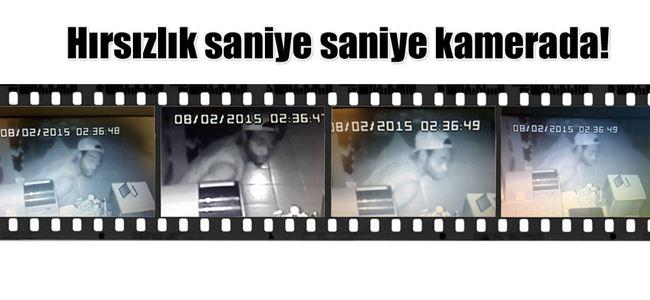 Hırsız güvenlik kamerasına yakalandı.