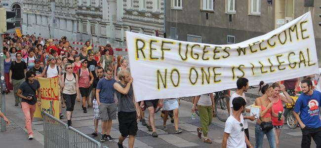 Avusturyada Mülteci protestosu