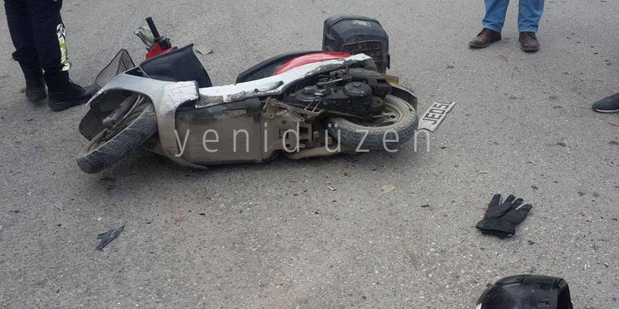 Motor sürücüsü başından yaralandı!