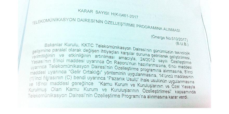 Telekomünikasyon Dairesi Özelleştirme Programı'na alındı