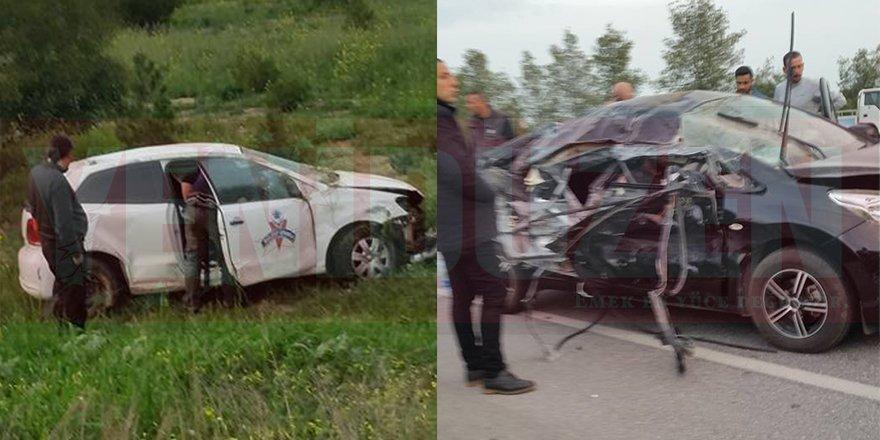 Karşı şeride geçti, araçla çarpıştı