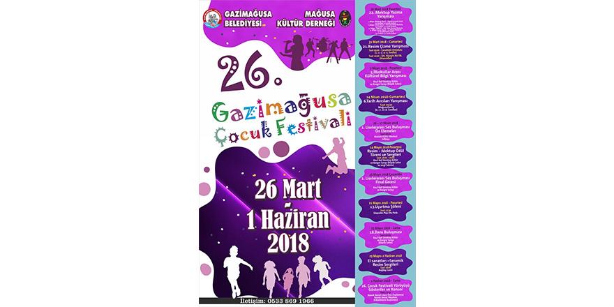 Gazimağusa Çocuk Festivali, 26 Mart'ta