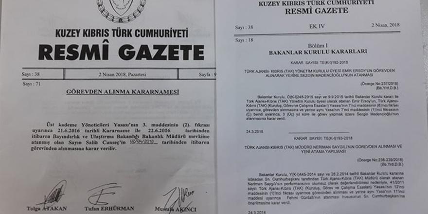 Görevden alma ve atamalar Resmi Gazete'de yayınlandı
