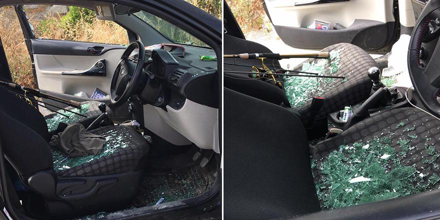 Camları kırdılar, arabayı soydular!
