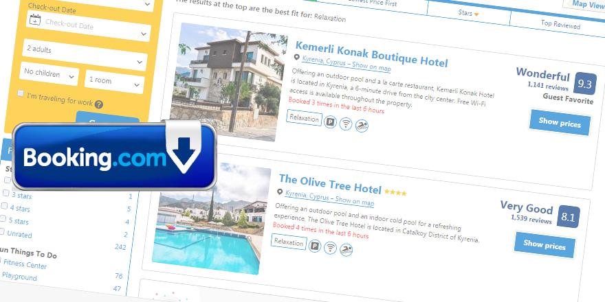 Kuzey Kıbrıs otelleri  yeniden Booking.com'da