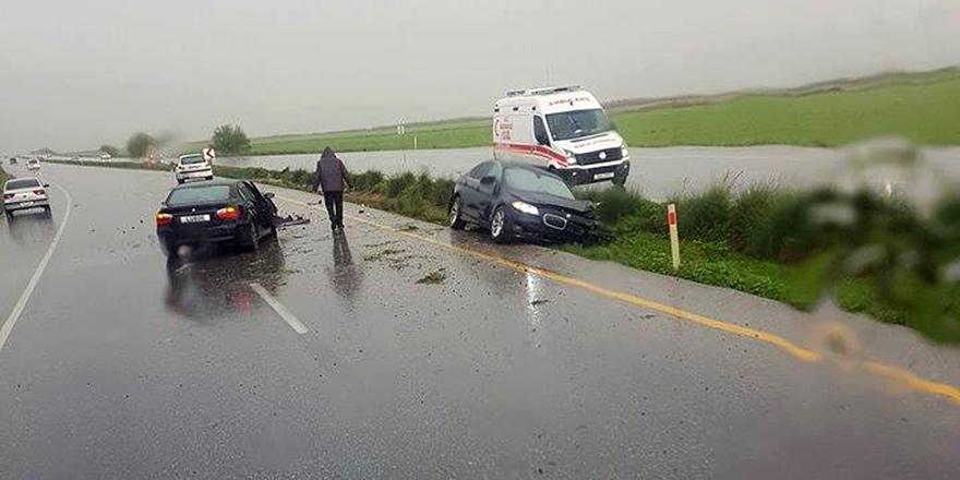 Mağusa – Lefkoşa Anayolu'nda korkutan kaza