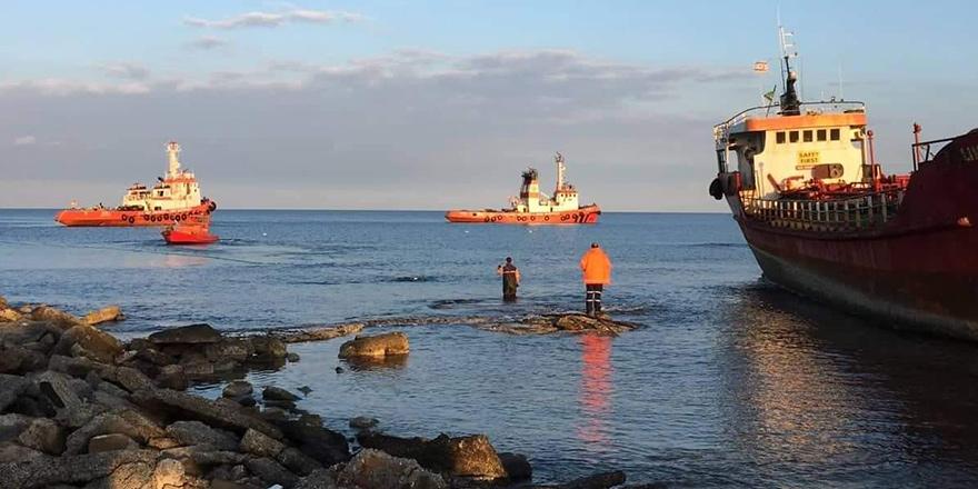 Karaya oturan gemi kurtarıldı