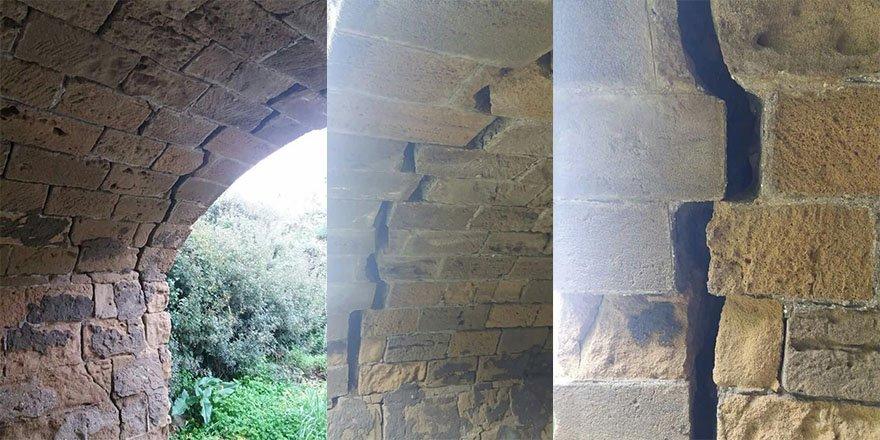 Taş köprü hasar gördü yol kapandı!