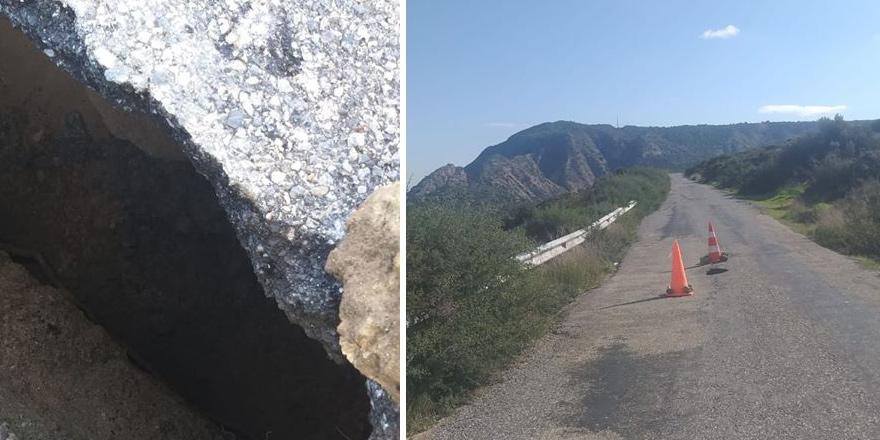 Sadrazamköy - Kayalar yolunda çökme meydana geldi
