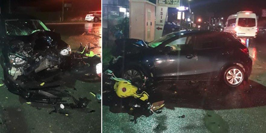 Motosikletle araba yüz yüze çarpıştı: 2 yaralı