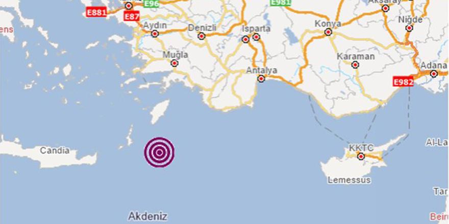 Akdeniz'de 5,4 büyüklüğünde deprem