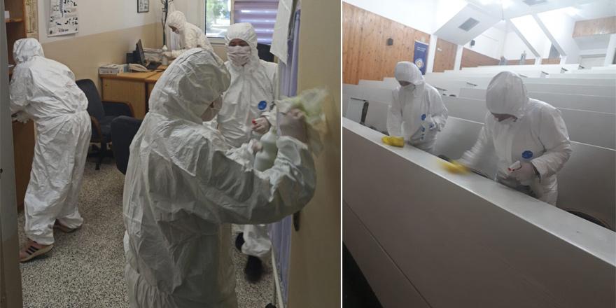 DAÜ'de dezenfekte işlemi yapılıyor