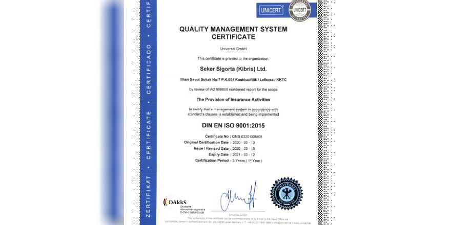 Şeker Sigorta'ya ISO 9001:2015 belgesi