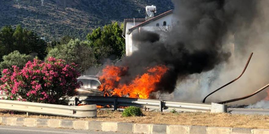 Boğaz'da araç yangını!