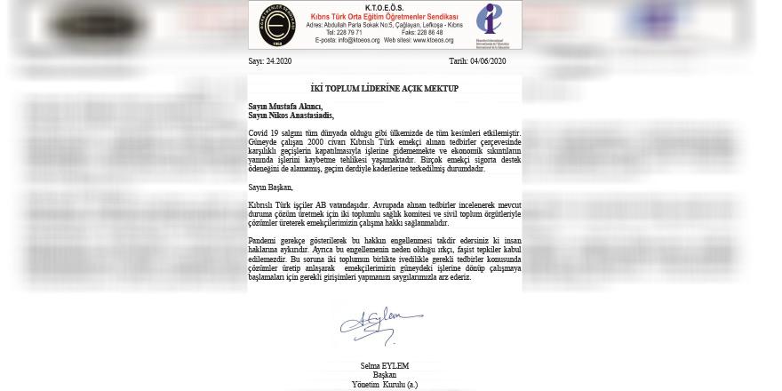 KTOEÖS'ten liderlere açık mektup