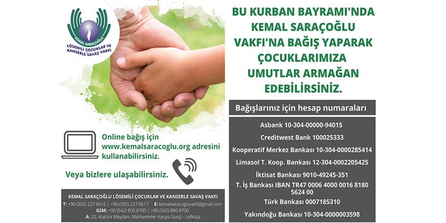 Kemal Saraçoğlu Vakfı'ndan Kurban Bayramı'nda destek çağrısı…