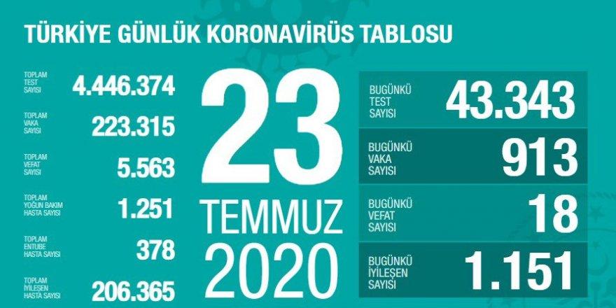 Türkiye'de Coronavirüs: 18 kişi daha hayatını kaybetti, 913 yeni tanı kondu