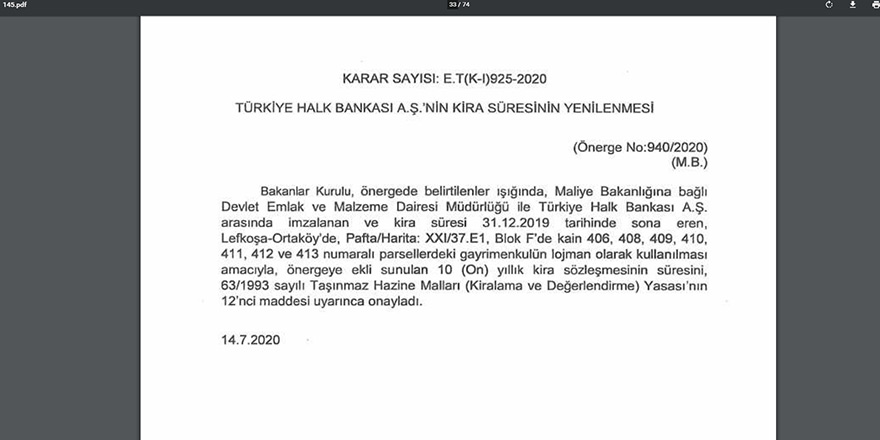 Türkiye Halk Bankası'nın kira süresi yenilendi