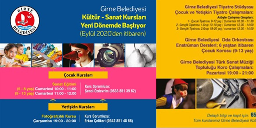 Girne Belediyesi'nin düzenlediği kültür-sanat atölyesi kurslarına yeni kayıtlar başladı