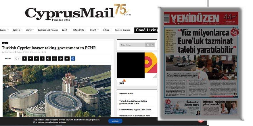 Yenidüzen'in manşeti Cyprus Mail'e haber oldu