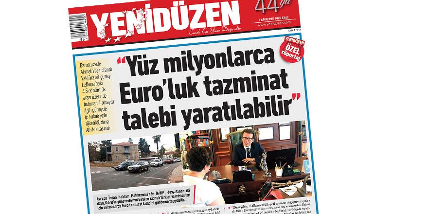"""Yenidüzen'in haberi güneydeki basında.. """"Kıbrıslı Türk Malları İçin AİHM'e"""""""