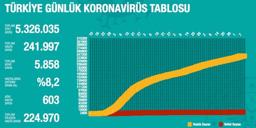 Türkiye'de 1193 kişiye daha coronavirüs tanısı kondu
