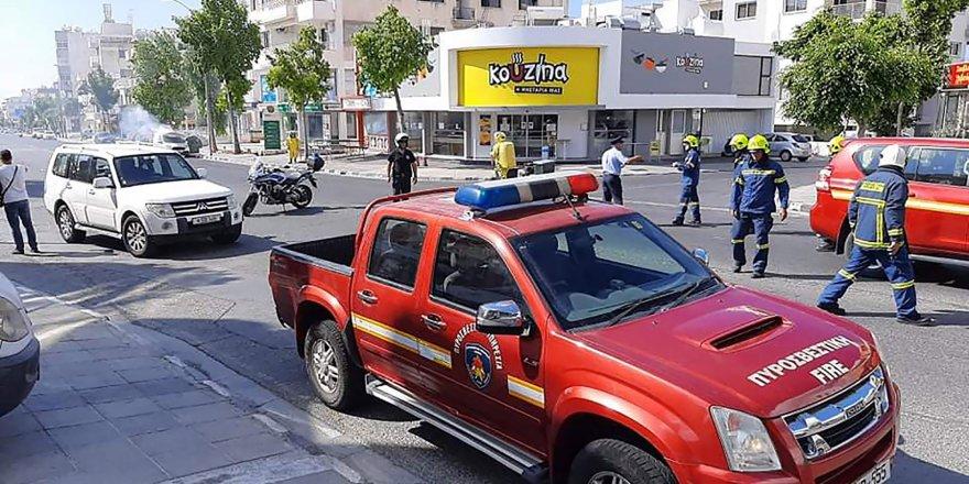 Limasol'da fosfin yüklü araç alev aldı