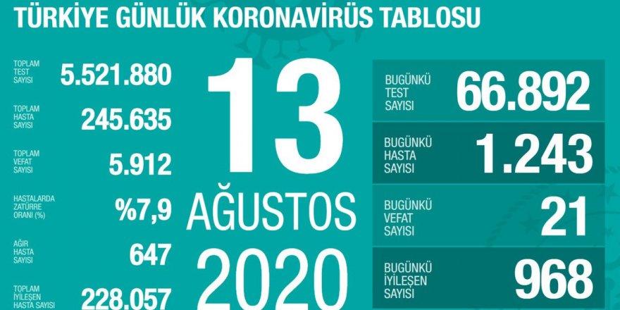 Türkiye'de Coronavirüs: 21 kişi hayatını kaybetti, 1243 yeni tanı kondu
