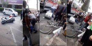Motosikletli bisikletliye çarptı: 1 ağır yaralı