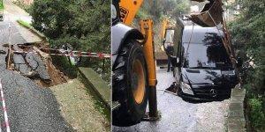 Lapta'da araç çöken yola düştü
