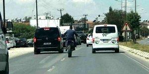Trafikte kasksız hız