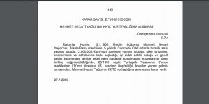 Concorde Otel'in sahibi Mehmet Necati Yağcı'ya vatandaşlık