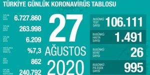 Türkiye'de Coronavirüs: 26 kişi hayatını kaybetti, 1491 yeni tanı kondu