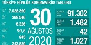 Türkiye'de Coronavirüs: 42 kişi daha hayatını kaybetti, 1482 yeni tanı kondu