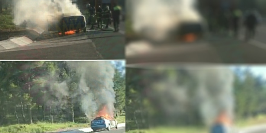 Girne yolunda bir araç yandı