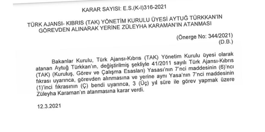 Karaman ve Karaaziz, TAK Yönetim Kurulu'na atandı