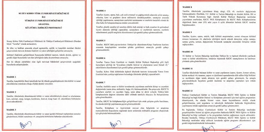 TC-KKTC Kültürel İşbirliği Protokolü