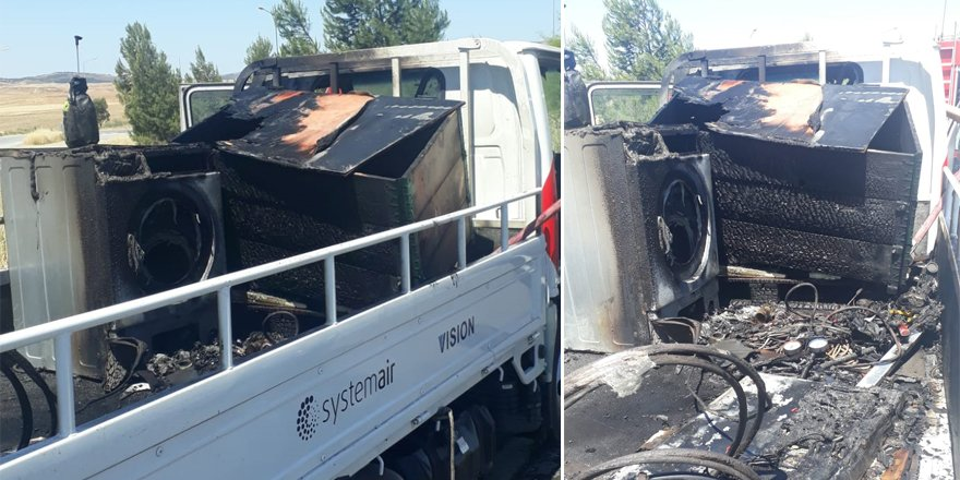 Yangın çıkan vandaki çamaşır makinesi ve televizyon yandı