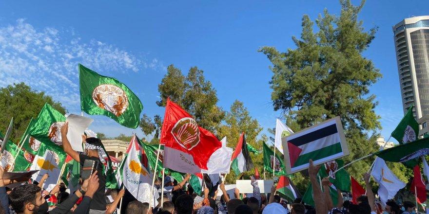 Lefkoşa'nın güneyinde Filistin'e destek gösterisi