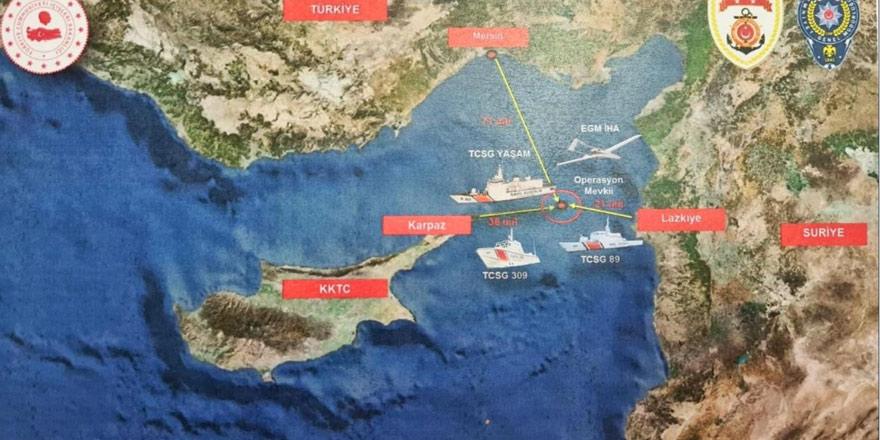 Suriye-Karpaz arasında gemiye operasyon: 1,5 tonun üzerinde uyuşturucu