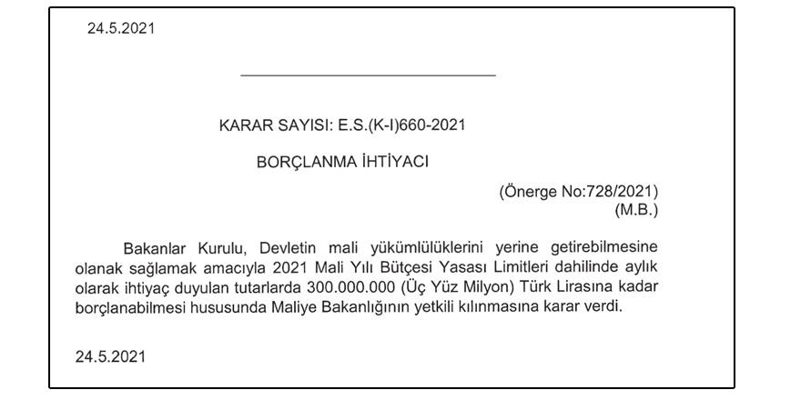 Hükümet borçlanıyor: 300 Milyon Türk Lirası ek borç!