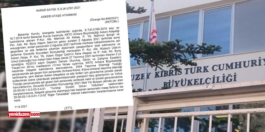 KKTC Ankara Büyükelçiliği'ne 3 'askeri ateşe'