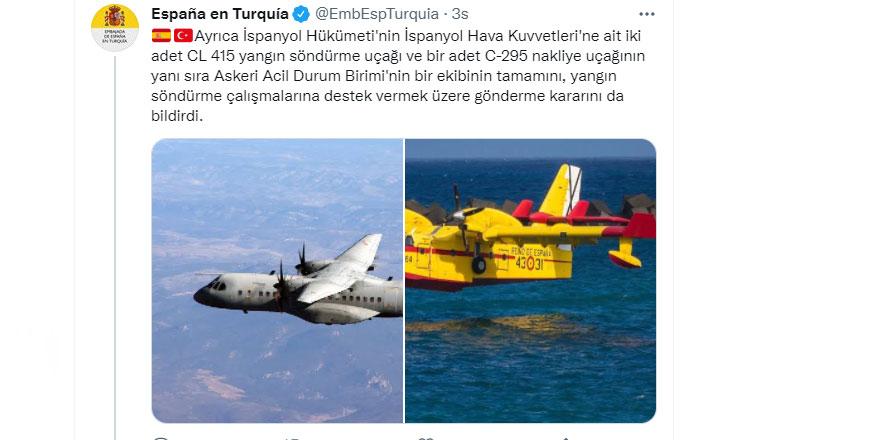 İspanya, yangın söndürme uçakları ve ekipman gönderiyor
